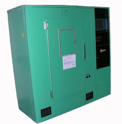 Image of a green door to the E8 Growth Chamber