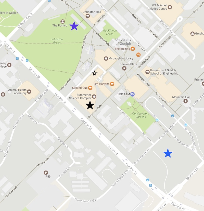 Map of the University of Guelph showing the NMR Centre and nearby parking lots