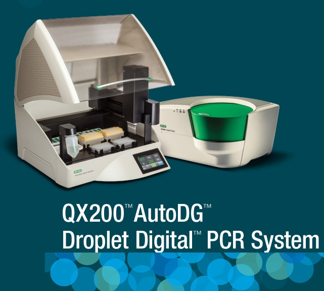Image of a white and green QX200 AutoDG Droplet Digital PCR System