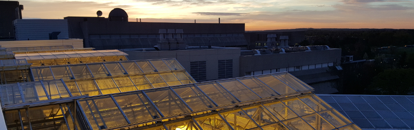 Panoramic shot of the Phytotron greenhouse in the evening