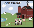 Graphic of farm with Premises Identification number example ON1234561