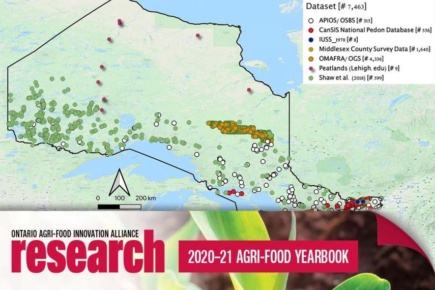 A map of northern Ontario with coloured dots and a legend representing the data set, with an icon banner at the bottom that says Ontario Agri-Food Innovation Alliance Research 2020-21 Agri-Food Yearbook