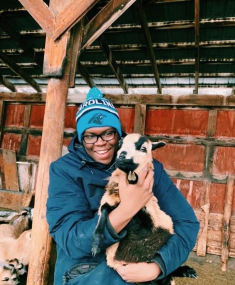 Oluwatimileyin Abolarin holding a goat