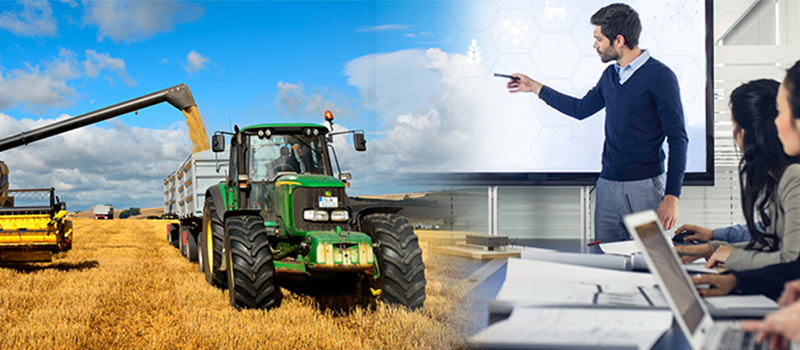 Image of farm equipment harvesting from a field with text that reads accelerating the impact of research. This image blends into an image of a man presenting to 3 people with laptops