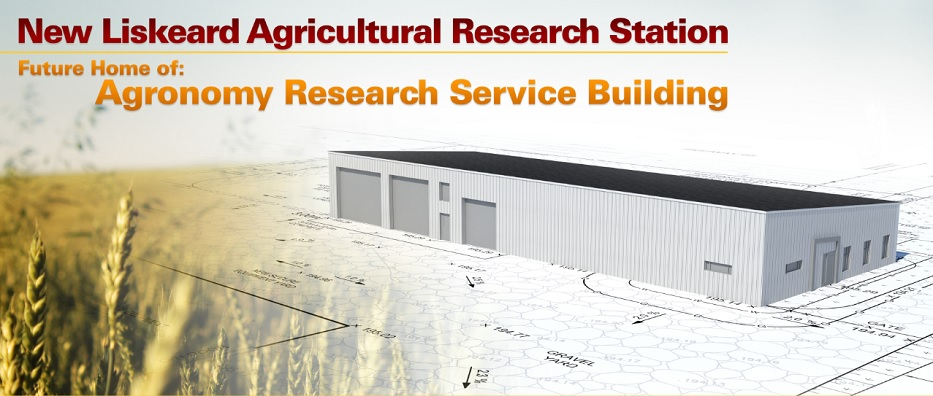Image of architectural rendering of New Liskeard Agricultural Research Station with text at top of image that reads New Liskeard Agricultural Research Station. Future home of Agronomy Research Service Building