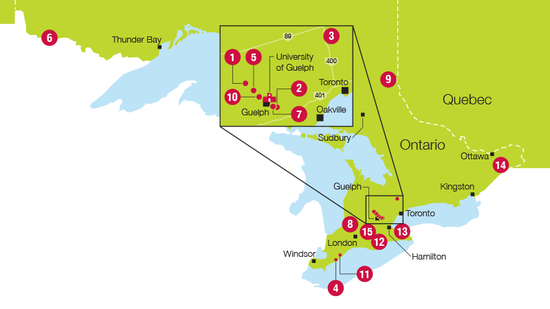 The image shows a map of southern Ontario. It points out the locations of the 15 research stations shown in the table late on this page. These stations include: Alma, Arkell, Bradford, Cedar Springs, Elora, Emo, Turfgrass Institute, Huron, New Liskeard, Ponsonby, Ridgetown, Simcoe, Vineland, Winchester, and Woodstock.