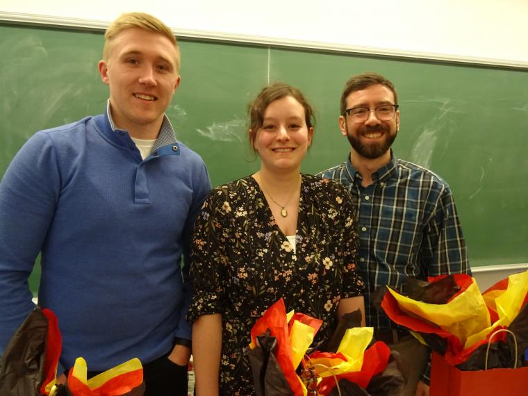 Left to Right: Alumni at Careers for Historians Night: Ryan Covel, Sara Wilmshurst, Fraser Telford.
