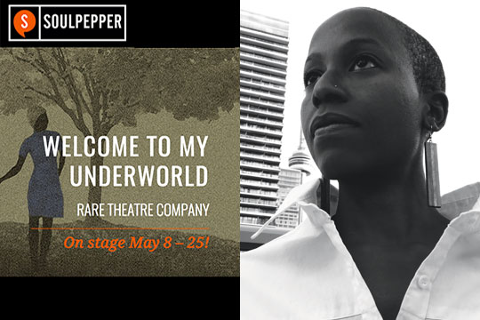 Soulpepper Theatre Poster and headshot of Simone Dalton, a young Black woman with short hair and large earings, standing outside in Toronto.