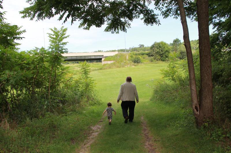 "J.R. (Tim) Struthers, ""Grandpa Tim,"" with his littlest grandson, Reed Gallan, at the Meneseteung, Saltford, near Goderich, Ontario, August 2015  Photo Credit: Joy Struthers"