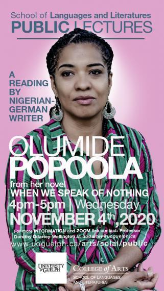 Poster for Olumide Popoola public talk on November 4 at 4:00pm