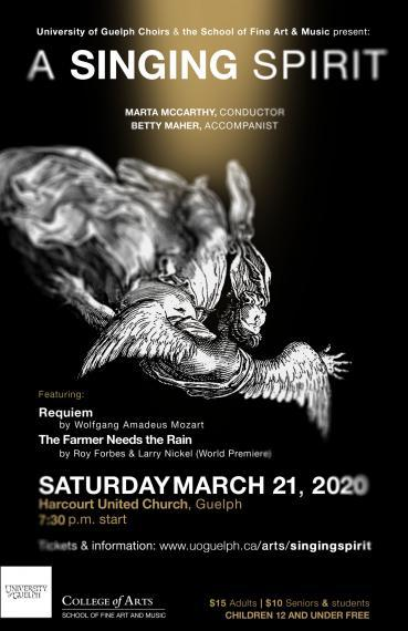 Poster with a falling angel with text details about the concert.