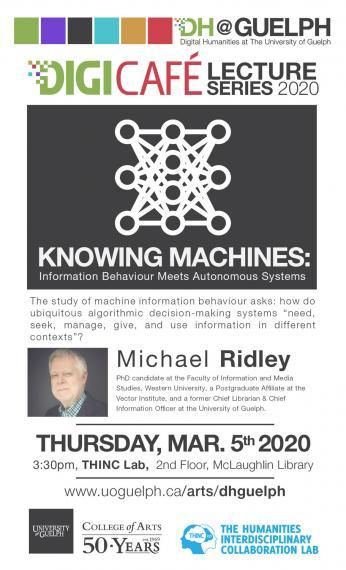 Poster of Michael Ridley's lecture on March 5, 2020