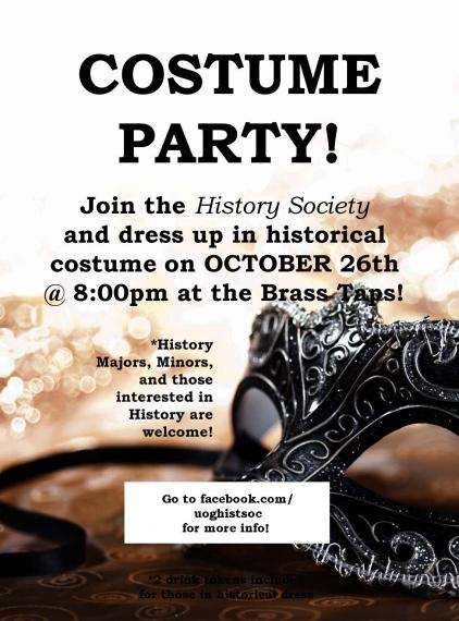 Poster for History Society Costume Party