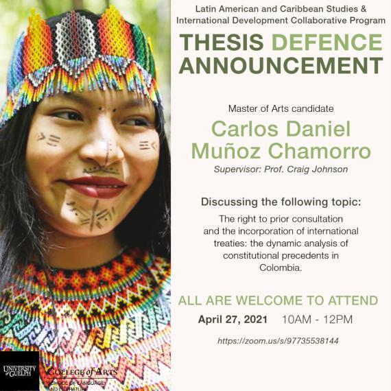 Poster of Carlos Daniel Munoz Chamorro's master thesis defence