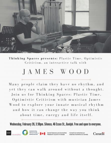 Poster of James Wood lecturing while sitting in front of a drum kit.