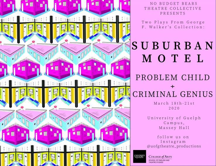 Poster showing a pattern of a blue building with a pick room, pink building & a hotel lobby.