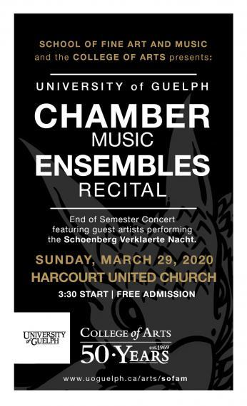 Poster with text for the Chamber Music Ensembles on March 29, 2020