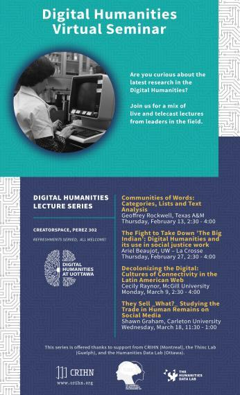 Poster of Digital Humanities Virtual Seminar Series from Feb 13 to March 18, 2020