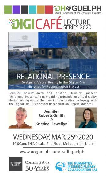 Poster of Relational Presence DigiCafe talk with Jennifer Roberts-Smith & Kristina Llewellyn
