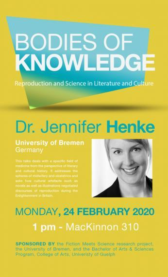 Poster of Dr. Jennifer Henke for her talk on Feb. 24, 2020