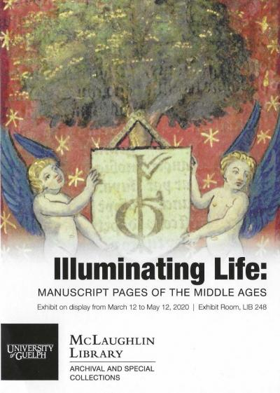 Conference poster with illumination from a manuscript of two cherubs holding a shield with sigil.