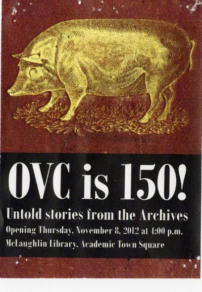 Exhibit poster with yellow pig on red background.