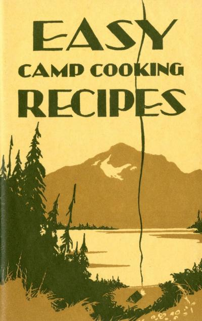"Camping cookbook cover with illustrated forest scene titled ""Easy Camp Cooking Recipes""."