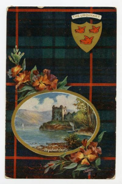 Postcard with Urquhart tartan and castle.