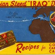 "Ad with blue and yellow background and map of Africa and Europe with red lettering for ""Iraq"" dates."