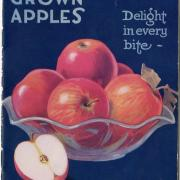Delight in every bite ad for Canadian apples with glass bowl of red apples on a dark blue background.