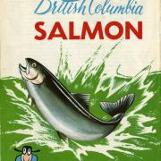 Ad for British Columbia salmon with white background and image of a salmon splashing out of green water.