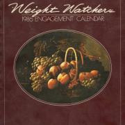 1986 Weight Watchers engagement calendar with a cornucopia on a burgundy background.