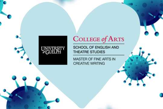 U of G Creative Writing MFA logo within a heart, surrounded by COVID-19 particles