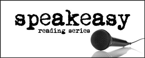 Speakeasy Reading Series logo, featuring a microphone and typewriter font