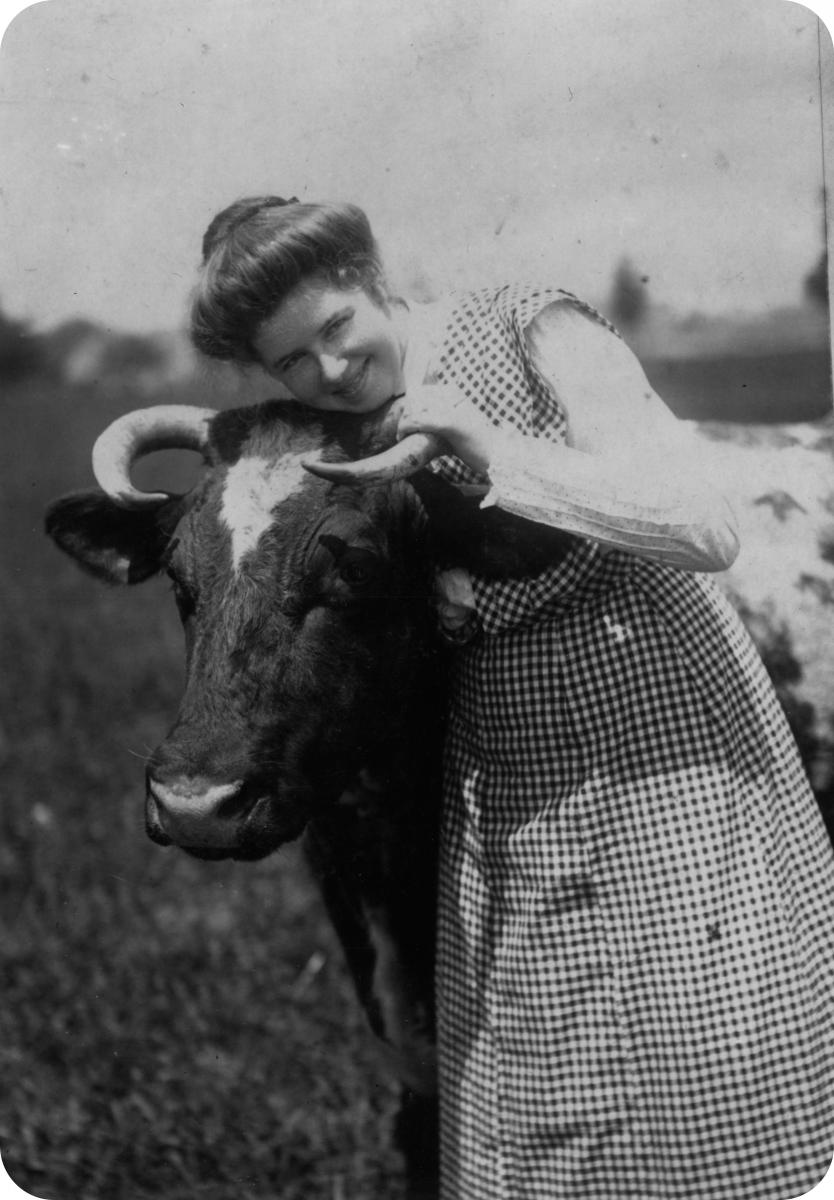woman with cow