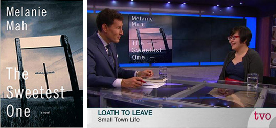 Melanie Mah's debut novel cover and screenshot from appearance on TVO's The Agenda