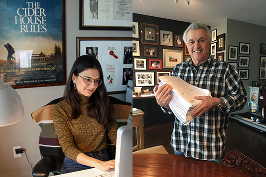 Image of Khalida Hassan at work with novelist John Irving.