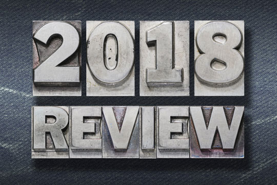 Typesetting blocks that spell out 2018 Review.