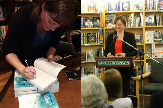 Lauren Carter signing books and giving a reading at McNally Robinson bookstore.