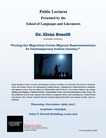 Poster for Dr. Elena Benelli's lecture