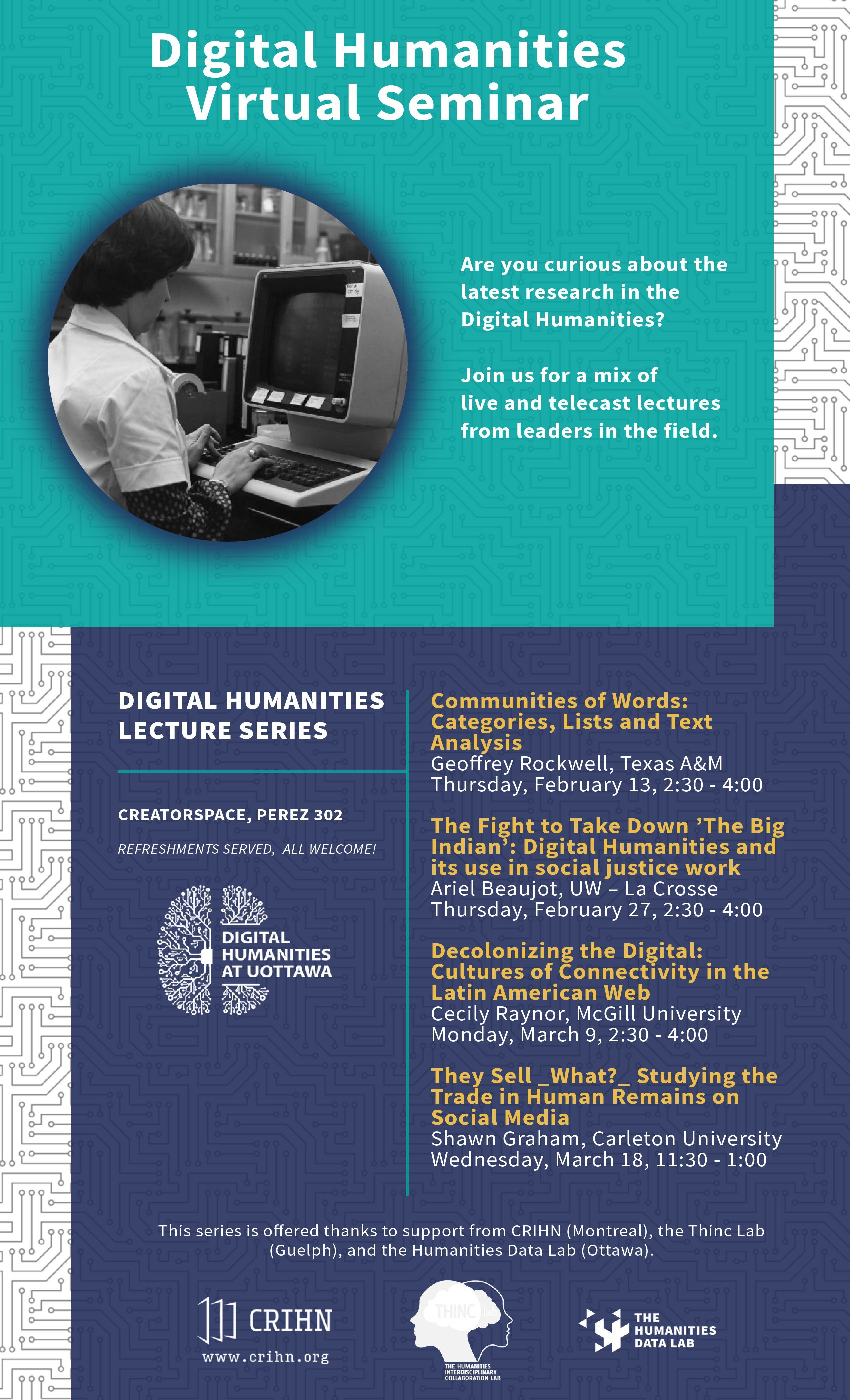 Digital Humanities Virtual Seminar Poster for Winter 2020.