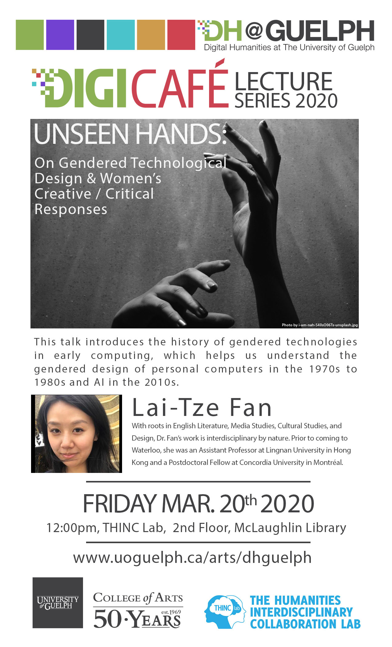 Poster depicting hands in the air and a headshot of Lai-Tze Fan