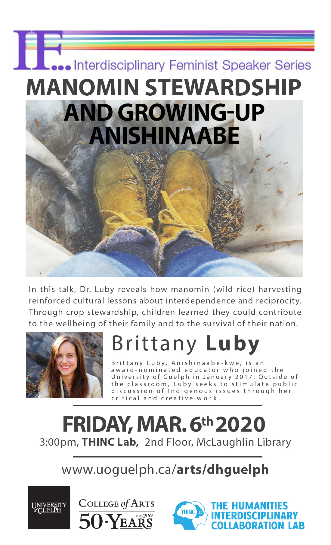 Poster of Brittany Luby's Lecture on March 6, 2020.