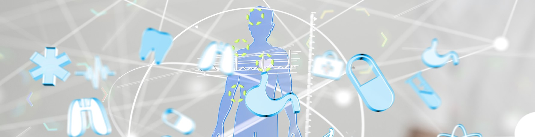 Clip art of person surrounded by lines and floating blue shapes