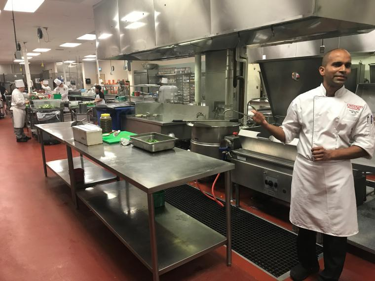 Vijay, head chef, in the UC kitchen