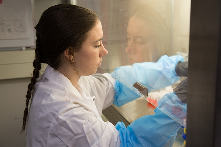 Recent MSc graduate Tori Sanderson handling blood samples (photo by M.K. Wills)