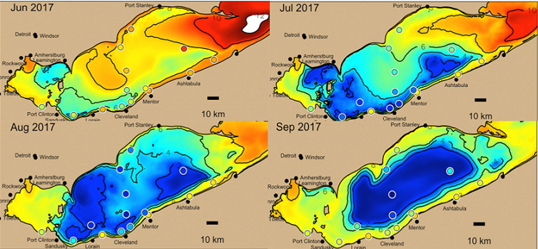 Computer model showing changes in hypoxic areas in Lake Erie over four months in 2017. Areas in blue are low in dissolved oxygen, areas in red are high in dissolved oxygen (figure courtesy of J. Ackerman)