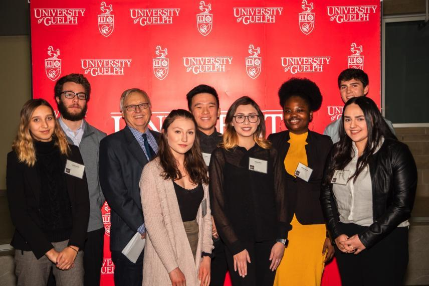 Interim Dean Glen Van Der Kraak with some of the 2019 CBS Award recipients