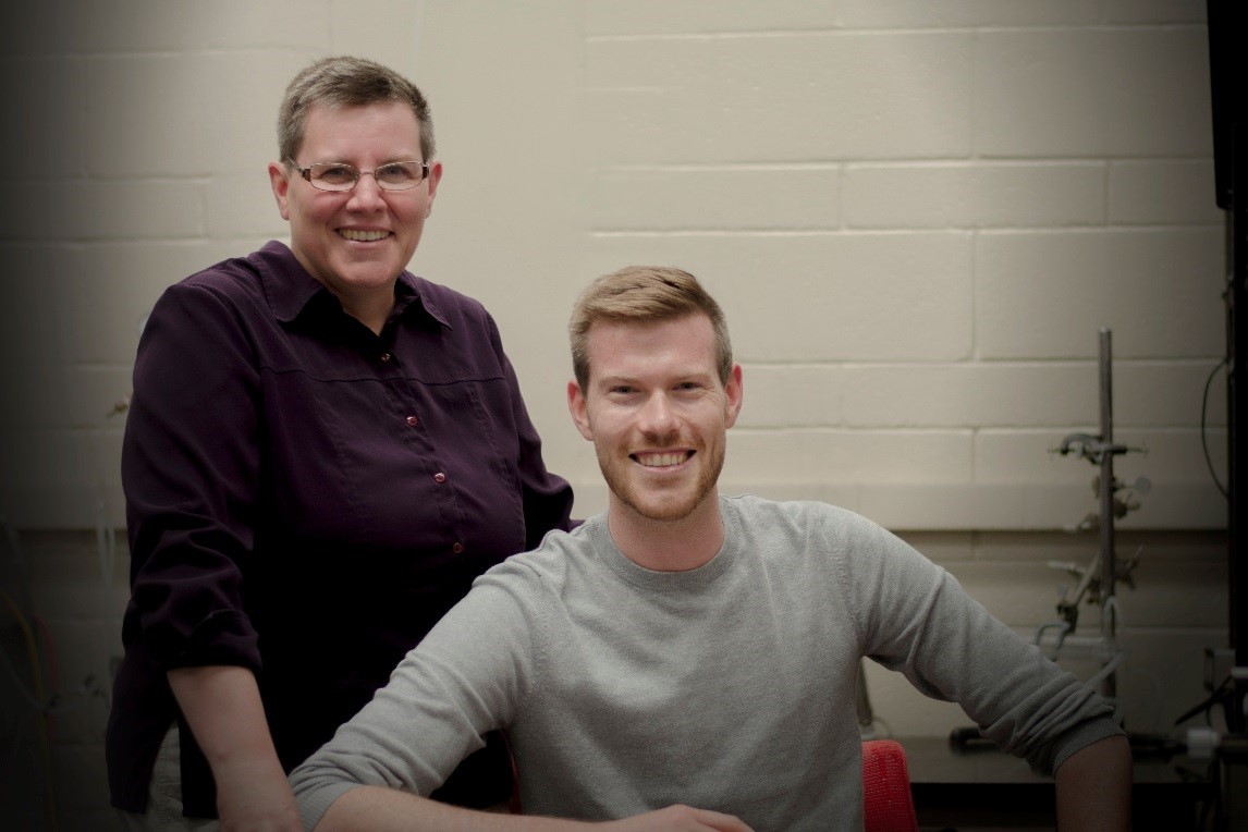 Professor Coral Murrant (left) and graduate student Iain Lamb (photo by K. White)