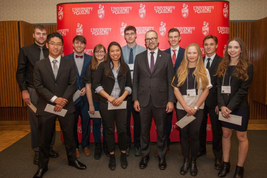 2017 First Year Dean's Scholarship Award Recipients with Dean Jonathan Newman